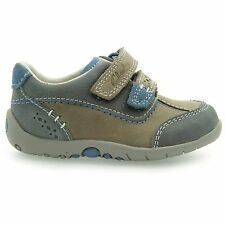 NEW CLARKS SOFTLY LO BABY BOYS GREY LEATHER FIRST SHOES SIZE UK 3 F / EU 18.5