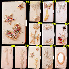 Cute Bling Crystal Diamonds PU leather flip slots book wallet case cover skin #3