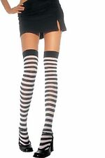 THIGH HIGH Stripe Hosiery Stockings Pantyhose RED & WHITE One Size