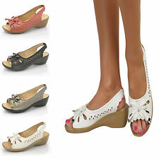 Ladies Low Wedge Heel Peep Toe Wide Fit Comfy Casual Slingback Sandals Size 3-8