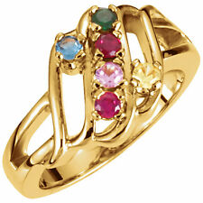 14K Solid Gold Mother's Ring 1 to 6 Birthstones, Mothers Day Jewelry Ring