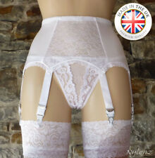 6 Strap Luxury Lace Panel Suspender Belt WHITE (Garter Belt) *FREE UK SHIPPING*