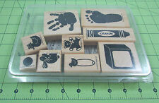 Stampin Up Definitely Decorative Kid Prints Set of 9 Stamps Duck Bunny Hand/Foot