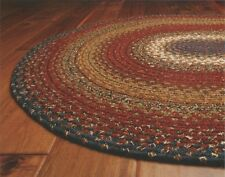Cotton Braided Area Floor Rug Oval Burgundy Blue Rustic Cottage Cabin