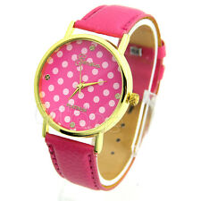 Fashion Lady Women Girl Classic Geneva Leatheroid Analog Quartz Wrist Watch Gift