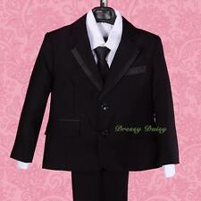 5pc Satin Trimmed Formal Suit Waistcoat Occasion Wedding Boy Sz 1-6 Black #030