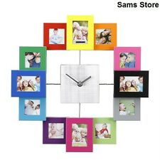 Family Photo Frame Clock 12 Photos Wall Stylish  Modern Multi Colour Pictures