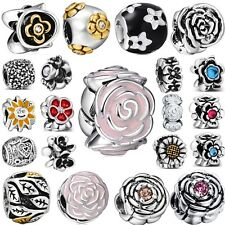 Genuine Brand Flowers 925 Sterling Silver Charms Bead Fit 3mm European Bracelet