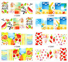 NEW 2016 Happy Summer Water Nail Art Stickers Decals Manicure Tattoo #C264-267