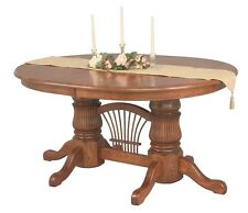 Amish Double Pedestal Dining Table Extending Leaf Solid Wood Country Oak Cherry
