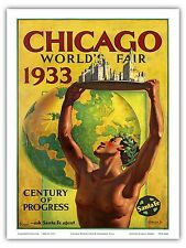 Chicago World's Fair 1933 Vintage Railroad Travel Art Poster Print