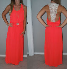 New Gorgeous Neon Coral Low Open Crochet Back Flowy Festival Maxi Dress