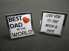 Men's personalised pair of cufflinks best dad / love you to the moon and back