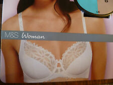 MARKS AND SPENCERS BLACK LACE FULL CUP BALCONY BRA 36 B UNDERWIRED EMBROIDERED
