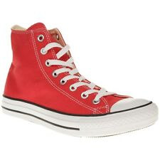New Mens Converse Red All Star Hi Canvas Trainers Lace Up