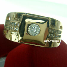 18k Yellow Gold Filled Men's Wedding Ring Lab diamond R244 SIZE9,10, 11 and 12