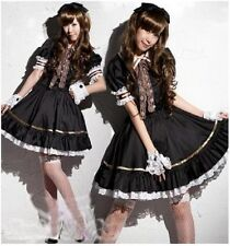 Gothic Lolita Maid Fancy Dress Costume Anime Cosplay Outfit Set