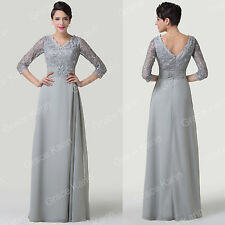 Vintage Lace Sleeve Sexy Women Long Bridesmaid Evening WEDDING Prom Gown Dresses
