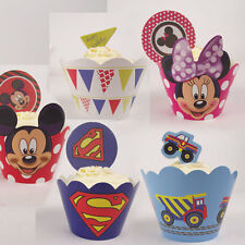 Paquete De 12 Cupcake Wrappers Y Cake Toppers! Superman Mickie Minnie Mouse