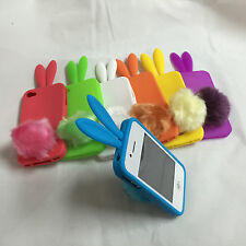 SOFT CUTE RABBIT BUNNY EAR SILICONE FURRY TAIL CASE FOR IPHONE 4S IPHONE 4