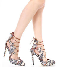 Tribal Print Pointy toe Lace up Pump High Heel Sandal Blue Brown Yellow shoes