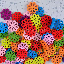 50Pcs Random Mixed Flower Shape Wood Sewing Buttons 20mm Paste Decoration Craft