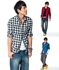 Fashion British Style Men's Slim Fit Casual Dress Plaid Check Shirt Blouse Tops