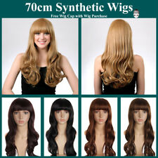 Women Long Wavy Hair Synthetic Full Wigs with Blunt Bangs Cosplay Party Wig 70cm
