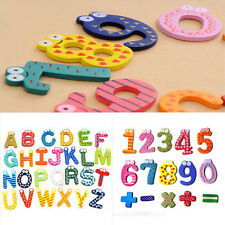 Hot Cute Kid Baby Educational Numbers/Letters Wooden Fridge Magnetic Sticker Toy