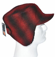 Saddlebred Mens Winter Flap Hat Wool Blend Red Plaid Hunting Shearling Lined