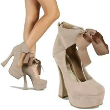 Taupe Suede Round toe Bow Pump High Chunky Heel Sandal Platform Shoe Women's
