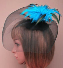 2 tone fascinator net cap feather Black Electric Blue Purple Green on hair clip