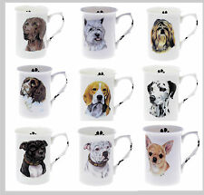 Personalised WITH ANY NAME BONE CHINA BEAKER MUG CUP Choice of dog breeds (A-P)
