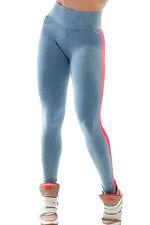 Dark Grey Yoga Leggings with Red Leatherette Panel LC79534 Women pants casual