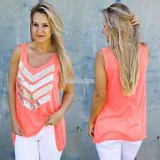 Women Neon Pink Sequin Chevron Striped Vest Top Sleeveless Tank Tops T-Shirt EFF