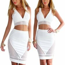 Sexy Women Crop Top and Skirt Set Prom Cocktail Bandage Bodycon Two piece Dress
