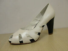 HB Accept off-white leather/black patent peep toe court shoes, RRP £105,  BNWB
