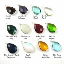 Birthstone Teardrop Charm, Bezel Gemstone Sterling Silver Charm- 22mm(2 Pcs)