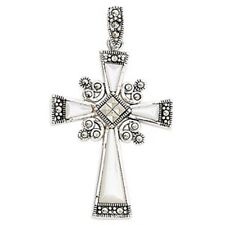 Silver Mother Of Pearl & Marcasite Cross Necklace