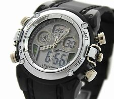 OHSEN Waterproof Military Dual Time LCD Digital Alarm Quartz Men's Sport Watch