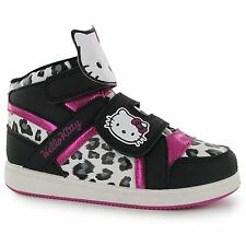 Hello Kitty Hi Top Trainers Kids Black/Pink Sneakers Shoes