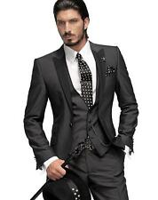 Silm Fit Best Man Suit Charcoal Grey Groomsman Men's Wedding/Prom 3 Piece Suits