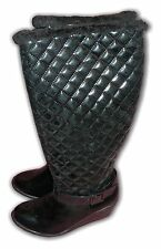 Ladies Boots Wedge Knee High Quilted Black Patent Warm Lined ZAX26 Sizes 3-8