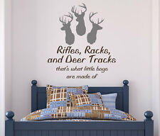 Rifles, Racks, and Deer Tracks Boy's Quote Vinyl Wall Decal Sticker