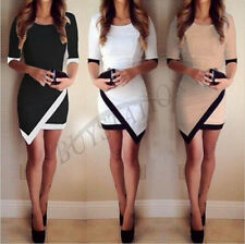 New Womens Summer Slim Bodycon Asymmetric Prom Evening Party Cocktail Mini Dress