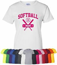 "Personalized ""Softball Mom"" Ladies Tee or T-Shirt S-4XL parent team mother girls"