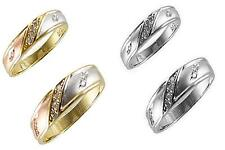 Gold His & Her 10k Solid Tricolor White Gold  Wedding Ring Band Set , Free Ship