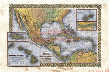 111 Mexico Central America Caribbean West Indies vintage historic antique map