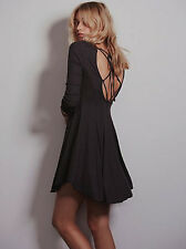 NWT Free People Ballet Fit and Flare Dress in Dark Gray Boho Size XS-L $78