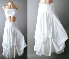 White Gypsy Steampunk Victorian Peasant Boho Bustle Cotton Petticoat Long Skirt